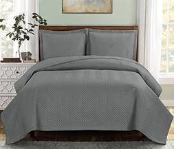 Chervon-Grey- Full size, Over-Sized Quilt 3pc set, Luxury Mi