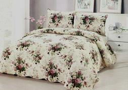 Chinese Rose Quilt Set King Queen 3 Piece Floral Bouquet Far