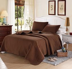 "Chocolate Solid Color Quilt 90""L-102""W, 2 Shams 20""L-36""W ."