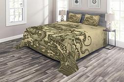 Ambesonne Christmas Coverlet Set Queen Size, Baubles Motifs
