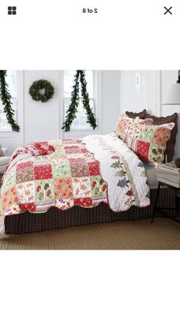 Christmas Festive Super-Soft & Cozy Quilt Coverlet Set Bedsp