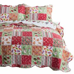Bedsure Christmas Quilt Set King Size  - Multicolor Printed