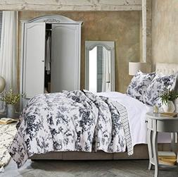 Greenland Home Classic Toile Quilt Set, King, Black
