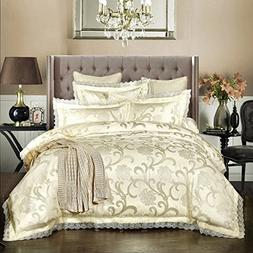 Luxury Duvet Sets 4-Piece Classical European Satin Jacquard
