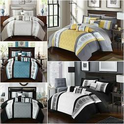 Chic Home Clayton 10 Piece Comforter Set Color Block Pintuck
