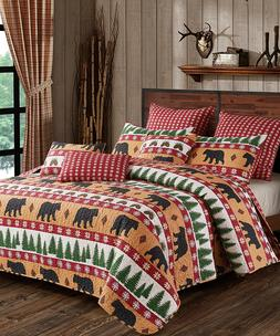 CLEARANCE LOG CABIN WINTER BLACK BEAR FOREST PINECONE RED SN