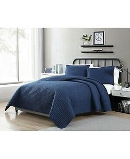 VCNY Home Clifton Solid Stripe 3-Pc Navy Full Quilt Set T410