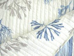 COASTAL 3pc F/QUEEN Quilt SET Blue Taupe Aqua White CORAL ST