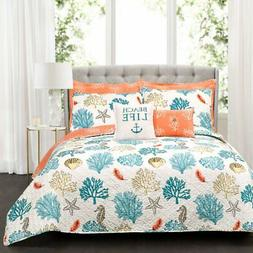 Coastal Reef 7 Piece Feather Quilt Set by Lush Decor