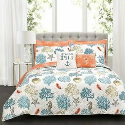"Lush Decor 7 Piece Coastal Reef Feather 7 Quilt Set, 20"" x 2"