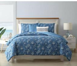 VCNY Home Coastal Reversible Queen Comforter Set in Blue 4 p
