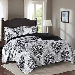 Comfort Spaces - Coco Mini Quilt Set - 3 Piece - Black and W