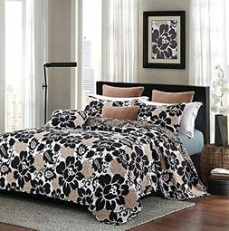 "Virah Bella® Collection - ""Black Rose"" Printed Quilt Set -"