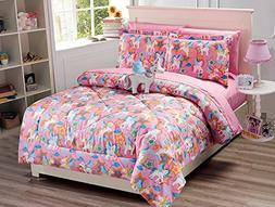Fancy Collection 8pc Full Size Comforter Set Unicorn Pink Pu