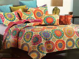 Virah Bella® Collection - Suri Orange Printed Quilt Set - F