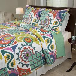 Lavish Home 3 Piece Colorful Abstract Quirky Beautiful Quilt
