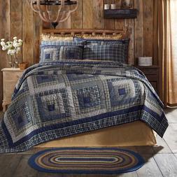 COLUMBUS QUILT SET-choose size & accessories-Log Cabin Navy