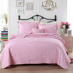 3-Piece Comforter Set Embroidered Cotton Diamond Floral Agnl