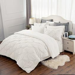 Bedsure 6 Piece Comforter Set Ivory Twin Size  Pinch Pleat D