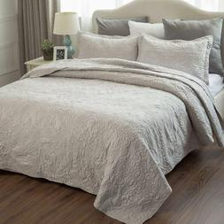 Bedsure Comfy Bedding Embroidered Full/Queen Quilt Set 3-Pie