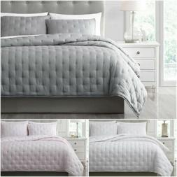 Cooling Blanket Set Bamboo Fiber Cross-Stitch Quilted Coverl