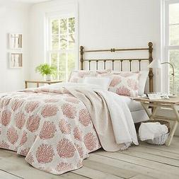 Laura Ashley Coral Coast 2-Piece  Quilt Set, Cotton, Twin/Fu