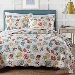 Coral Ocean Bedding Quilt Set Queen Cotton Patchwork Quilt B