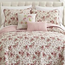COTTAGE PINK ROSE King 5 pieces QUILT SET : FRENCH COUNTRY V
