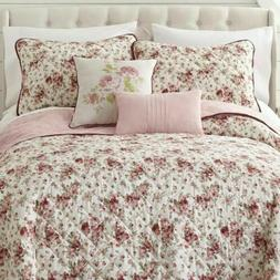 COTTAGE PINK ROSE Queen 5 pieces QUILT SET : FRENCH COUNTRY