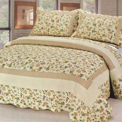 cotton 3pc floral vermicelli quilted printed quilt