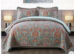 NewLake Cotton Bedspread Quilt Set King Size Reversible Flor