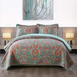 Cotton Bedspread Quilt Sets Reversible Patchwork Coverlet Se