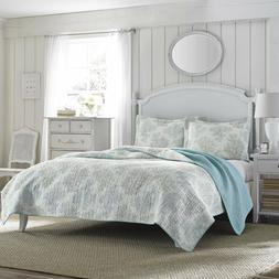 LAURA ASHLEY Cotton CORALS Coverlet Quilt Set QUEEN Size w/