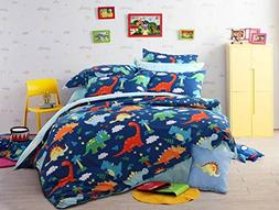 HNNSI 4 Piece Cotton Dinosaur Kids Boys Bedding Sets Queen S