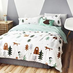 HNNSI Cotton Kids Duvet Cover Sets, Cute Fox Bear Tree Child