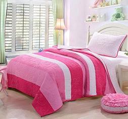 HNNSI 100% Cotton Kids Girls Quilt Comforter Set Queen Size
