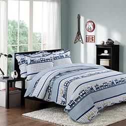 HNNSI 3PCS Cotton Kids Quilt Bedspread Set Queen Size for Bo