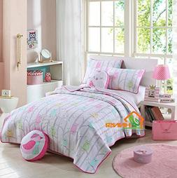 HNNSI Cotton Kids Quilts Owl Girls Comforter Set Twin Size 2