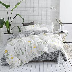VClife King Cotton Bedding Sets Adults Floral Bed Duvet Cove