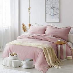 Bedsure 45% Cotton 55% Linen Duvet Cover Queen with 2 Pillow
