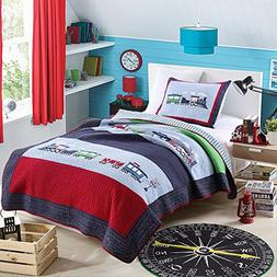 NEWLAKE 100% Cotton Plaid Quilt Comforter Children's Bedsp