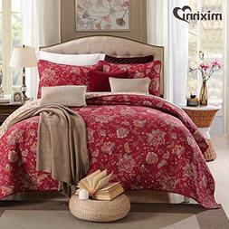 mixinni 100% Cotton 3-Piece Floral Reversible Burgundy Quilt