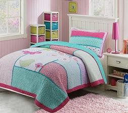 HNNSI 100% Cotton 2PCS Quilt Bedspread Set Twin Size for Kid