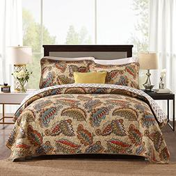 NEWLAKE Cotton Quilted Bedspread Sets-Reversible Patchwork C
