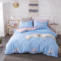 HIGHBUY 100% Cotton Full Reversible Bedding Cover for Kids G