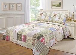 ALL FOR YOU 3-piece 100% COTTON Reversible Bedspread/Coverle