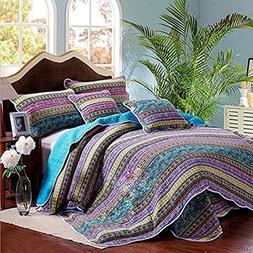 100% Cotton Striped Boho Style Quilt Bedspread Set King Flor
