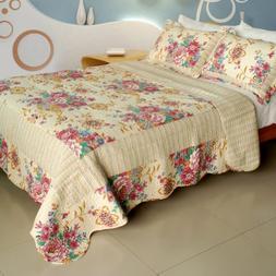 100% Cotton 3PC Vermicelli-Quilted Patchwork Quilt Set