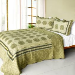 Cotton 3PC Vermicelli-Quilted Polka Dot Printed Quilt Set