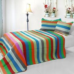 3PC Cotton Vermicelli-Quilted Printed Quilt Set